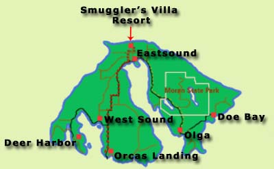 Map of Orcas Island in the San Juan Islands